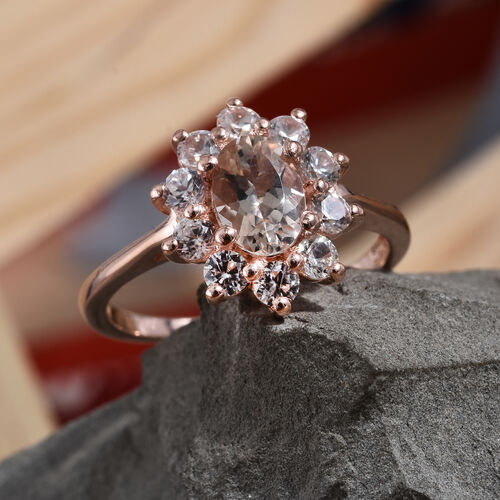 Marropino Morganite (Ovl), Natural Cambodian Zircon Ring in Rose Gold Overlay Sterling Silver 1.25 Ct.