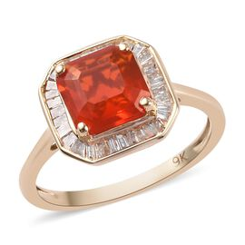Super Auction- 9K Yellow Gold AAA Jalisco Fire Opal and Natural Diamond Ring 1.50 Ct.