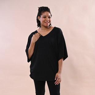 TAMSY  Black V-Neck Knit Drape Top Color Black