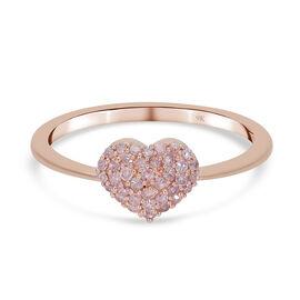 9K Rose Gold Natural Pink Daimond (I3) Heart Ring 0.25 Ct.
