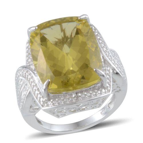 Brazilian Green Gold Quartz (Cush 18.00 Ct), Diamond Ring in Platinum Overlay Sterling Silver 18.030 Ct.