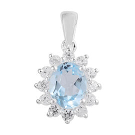 Sky Blue Topaz (Ovl), Natural Cambodian Zircon Pendant in Sterling Silver 3.00 Ct.
