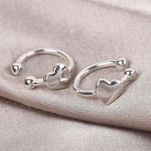 Sundays Child - Platinum Overlay Sterling Silver Heart Clip Earrings