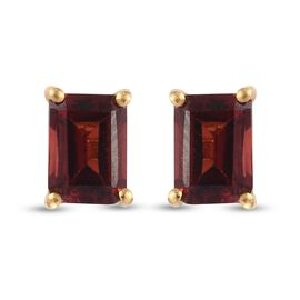 Red Garnet Earrings (with Push Back) in 14K Gold Overlay Sterling Silver 2.65 Ct.