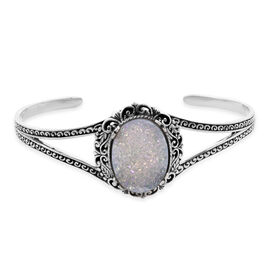 Royal Bali Pearl Shimmer Drusy Quartz Cuff Bangle in Sterling Silver 15.66 Grams in 7.5 Inch