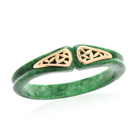Green Jade Bangle (Size 7.5) in Yellow Gold Overlay Sterling Silver 245.50 Ct.