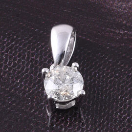 9K White Gold SGL Certified Diamond (I3/G-H) Solitaire Pendant  0.50 Ct.