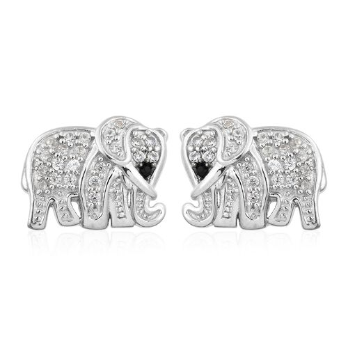 1 Carat Natural Cambodian Zircon and Black Spinel Elephant Stud Earrings in Platinum Plated Silver 5.87 Gms