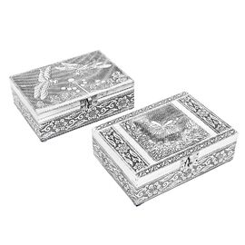 DOD- Set of 2 - Dragonfly & Butterfly Embossed Jewellery Storage Box with Blue Velvet Lining (Size 1