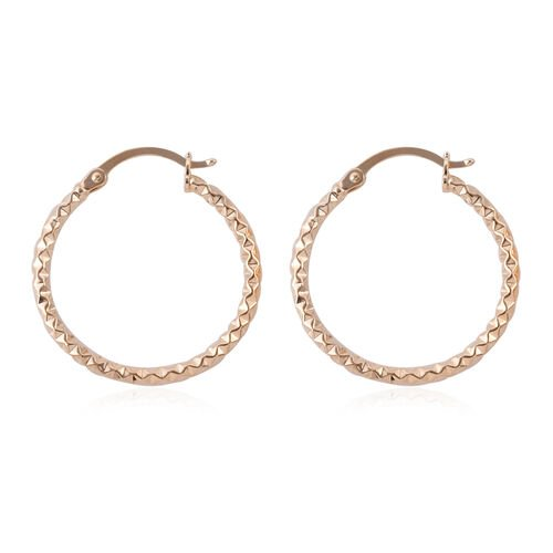 Royal Bali Collection - 9K Yellow Gold Hoop Earrings (With Clasp Lock)