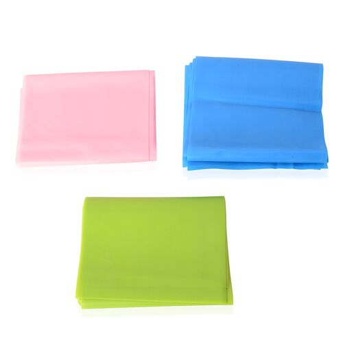 3 Piece Set - Pink, Blue and Green Elastic Band (Size 180 Cm)