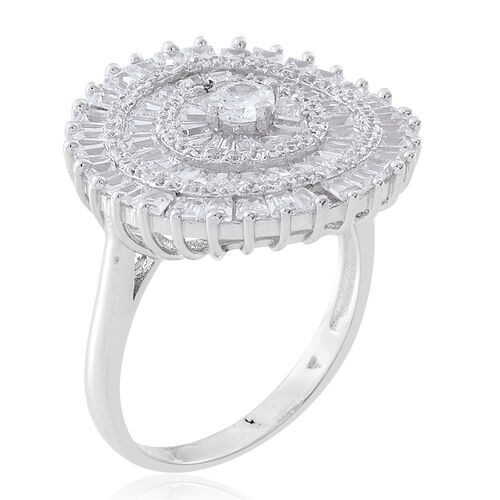 ELANZA Simulated White Diamond (Rnd) Ring in Rhodium Plated Sterling Silver, Silver wt 5.63 Gms. Number of Simulated Diamonds 132