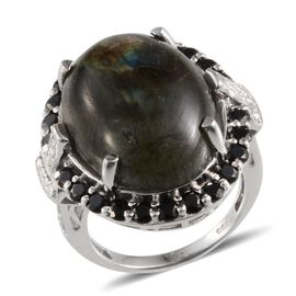Labradorite (Ovl 19.00 Ct), Boi Ploi Black Spinel and Diamond Ring in Platinum Overlay Sterling Silver 21.020 Ct.