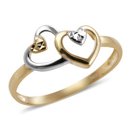 Royal Bali Twin Heart Ring in 9K and White Gold 1.18 grams