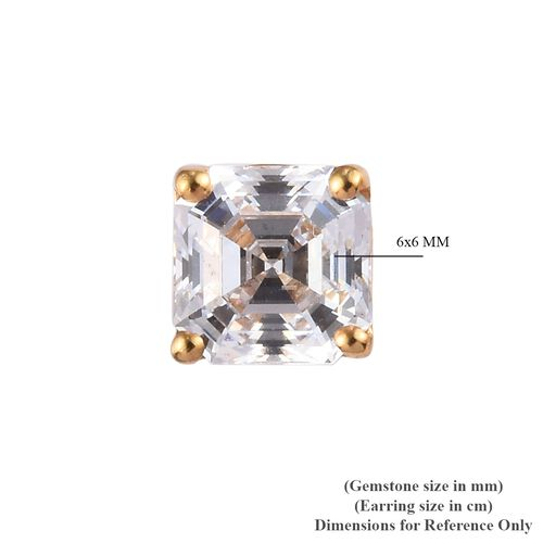 J Francis - 14K Gold Overlay Sterling Silver Stud Asscher Cut Earrings Made with SWAROVSKI ZIRCONIA