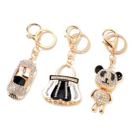 Set of 3 Multi Colour Austrian Crystal (Rnd), Car, lock and Panda Key Chain with Lobster Lock in Gold Tone with Enameled