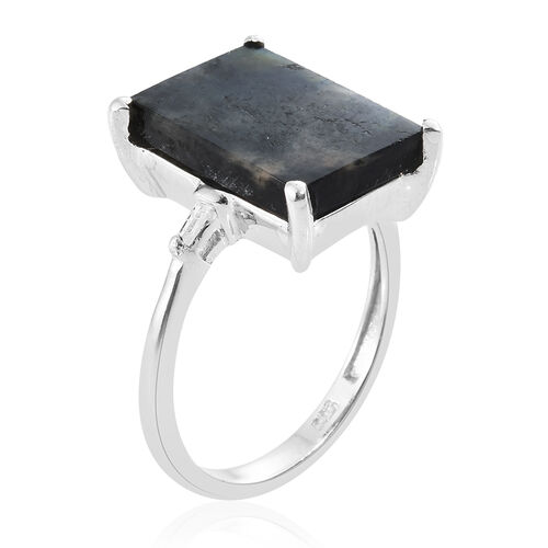 Natural Spectrolite (Bgt), Diamond Ring in Platinum Overlay Sterling Silver 4.250 Ct.