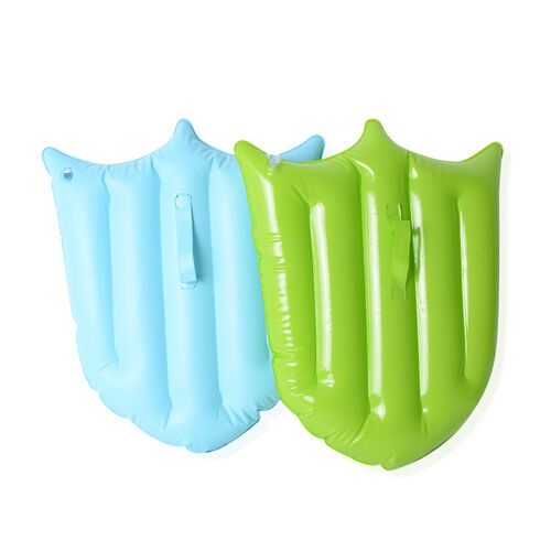 Set of 2 Green and Blue Colour Shield and White Colour 6 Balls (Size 45x30 Cm)