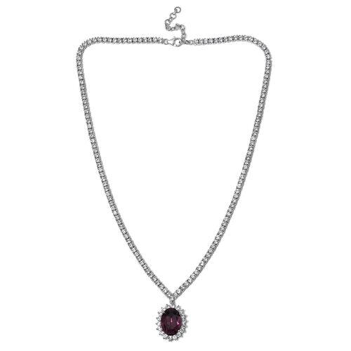 J Francis Crystal from Swarovski- Purple Sapphire Crystal (Ovl), White Crystal Necklace (Size 18 with 2 inch Extender) in Platinum Overlay Sterling Silver, Silver wt 31.00 Gms. Number of Swarovski 159