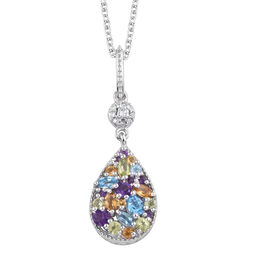 GP Amethyst (Rnd), Swiss Blue Topaz and Multi Gemstone Pendant with Chain in Platinum Overlay Sterli
