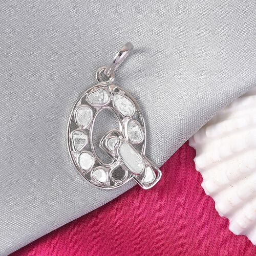 Artisan Crafted Polki Diamond Initial Q Pendant in Platinum Overlay Sterling Silver 0.50 Ct.