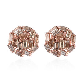 9K Rose Gold Champagne Diamond Cluster Earrings (with Push Back) 0.50 Ct.