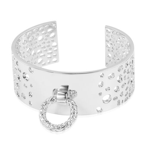 Limited Available-RACHEL GALLEY Rhodium Plated Sterling Silver Lattice Bangle (Size 7.5). Total Silv