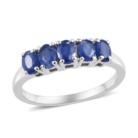 1 Carat Burmese Blue Sapphire 5 Stone Band Ring in Platinum Plated Sterling Silver