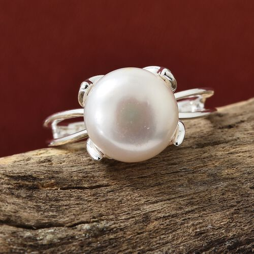 Rare Size Fresh Water Pink Pearl (Rnd 10mm) Solitaire Ring in Sterling Silver