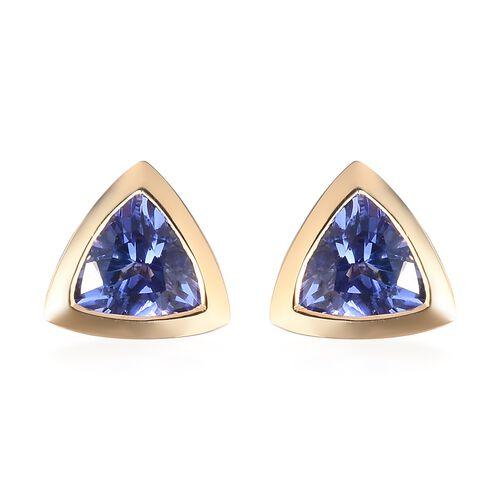 ILIANA 18K Yellow Gold AAA Tanzanite Stud Earrings 1.00 Ct.