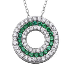 ELANZA Simulated Emerald (Rnd), Simulated Diamond Three Row Circle Pendant With Chain (Size 18) in R