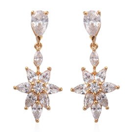 J Francis - 14K Gold Overlay Sterling Silver (Pear) Earrings (with Push Back) Made With SWAROVSKI ZI