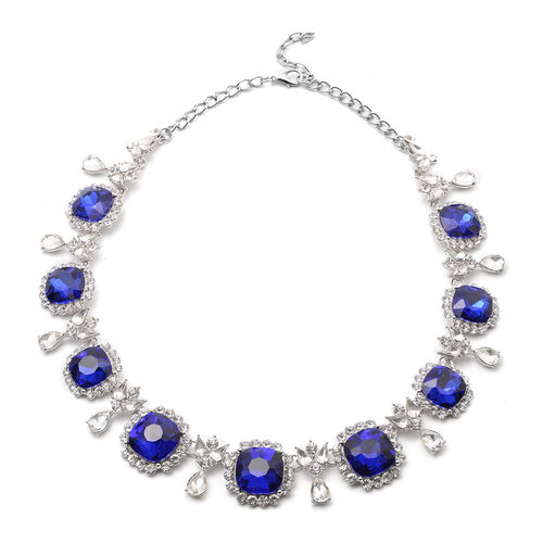 2 Piece Set - Simulated Blue Sapphire, White Austrian Crystal and Simulated Diamond Stud Earrings and Adjustable Necklace (Size 18-22) in Silver Tone