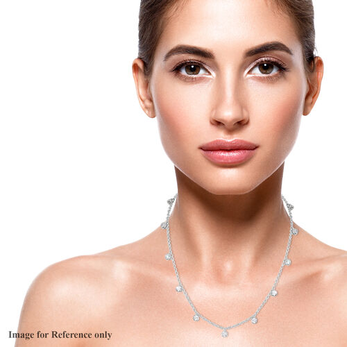 J Francis Platinum Overlay Sterling Silver Station Necklace (Size 18) Made with SWAROVSKI ZIRCONIA, Silver wt. 7.80 Gms