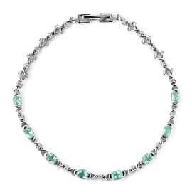 1.53 Ct Boyaca Colombian Emerald and Zircon Station Bracelet in Rhodium Plated Silver 7.5 Inch