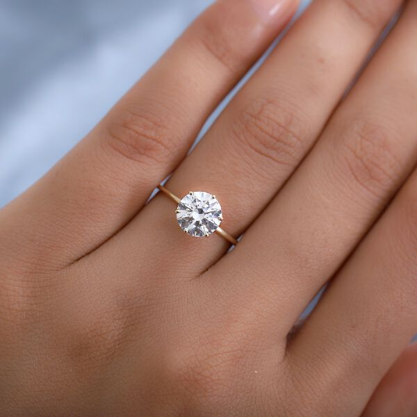 J Francis 9K Yellow Gold Solitaire Ring Made with SWAROVSKI ZIRCONIA 3.30 Ct.