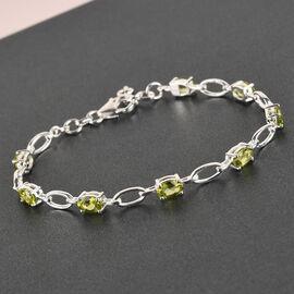 Hebei Peridot Link Bracelet (Size - 7) in Sterling Silver 3.73 Ct.