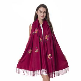Wine Red Colour Flower Pattern Scarf with Embroidery (Size 177x74+10 Cm)
