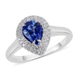 ILIANA 1.05 Ct AAAA Royal Ceylon Sapphire and Diamond Halo Ring in 18K White Gold 3.98 Grams SI GH