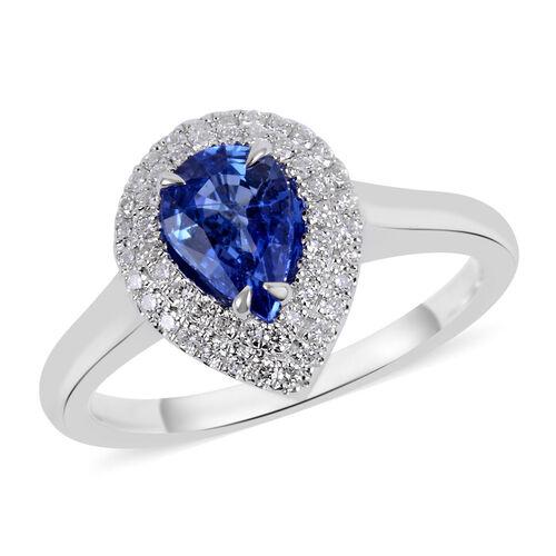 ILIANA 1.05 Ct AAAA Royal Ceylon Sapphire and Diamond Halo Ring in 18K White Gold 3.98 Grams SI GH