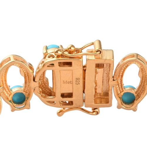 AA Arizona Sleeping Beauty Turquoise Enamelled Infinity Bracelet (Size 7.5) in 14K Gold Overlay Sterling Silver 7.00 Ct, Silver wt 18.00 Gms