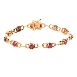 African Ruby Cluster Bracelet (Size 7.5) in 14K Gold Overlay Sterling Silver 5.50 Ct, Silver wt. 12.