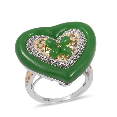 16.66 Ct Green Jade and White Zircon Heart Ring in Rhodium and Gold Plated Sterling Silver 9.92 Gms