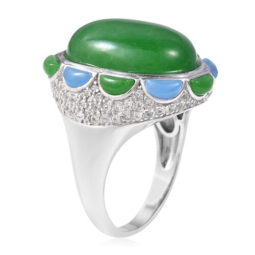 Green Jade (Ovl 20x15 mm), Blue Jade and Natural White Cambodian Zircon Ring in Rhodium Overlay Sterling Silver 23.50 Ct, Silver wt 8.00 Gms