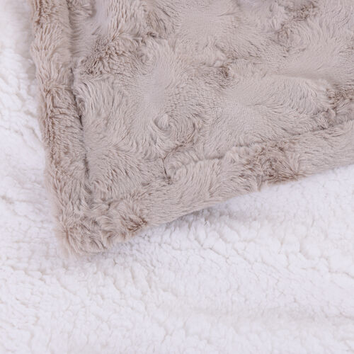 Serenity Night Electric Over Faux Fur Fleece Sherpa Blanket with Detachable Connector and Washable Fabric (Size 150x130cm) - Beige