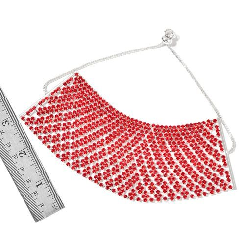 Red Austrian Crystal Adjustable Bracelet (Size 6.5 to 11.5) in Silver Tone