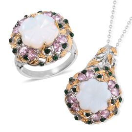 2 Piece Set - Carved Opalite,Simulated Pink Sapphire and Green Austrian Crystal Ring and Pendant Wit