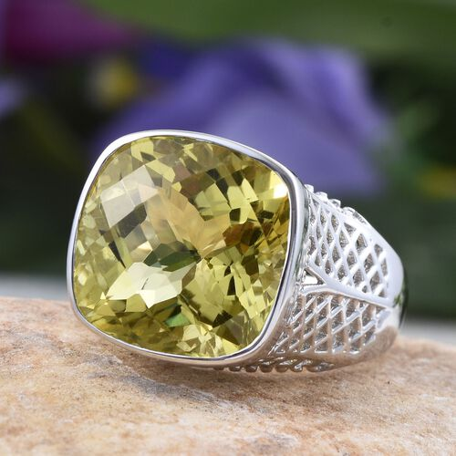 Checkerboard Cut Natural Ouro Verde Quartz (Cush) Ring in Platinum Overlay Sterling Silver 11.000 Ct.