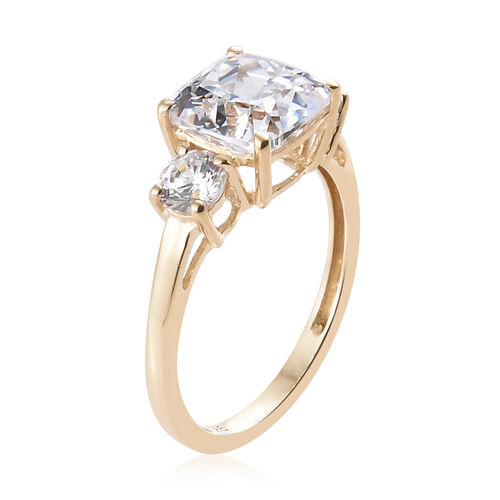 J Francis - 9K Yellow Gold (Cush 8x8 mm) Ring Made with SWAROVSKI ZIRCONIA