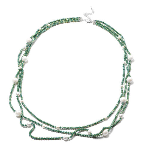 White Shell Pearl and Simulated Chrome Diopside 3-Row Necklace (Size 32 with 3 inch Extender) in Sil